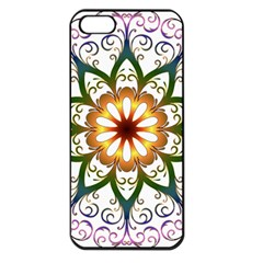 Prismatic Flower Floral Star Gold Green Purple Apple Iphone 5 Seamless Case (black) by Alisyart