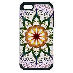 Prismatic Flower Floral Star Gold Green Purple Apple Iphone 5 Hardshell Case (pc+silicone)