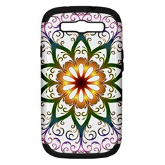Prismatic Flower Floral Star Gold Green Purple Samsung Galaxy S Iii Hardshell Case (pc+silicone) by Alisyart
