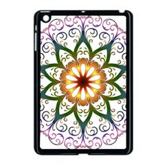 Prismatic Flower Floral Star Gold Green Purple Apple Ipad Mini Case (black) by Alisyart