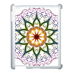 Prismatic Flower Floral Star Gold Green Purple Apple Ipad 3/4 Case (white)