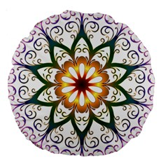 Prismatic Flower Floral Star Gold Green Purple Large 18  Premium Round Cushions by Alisyart