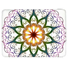 Prismatic Flower Floral Star Gold Green Purple Samsung Galaxy Tab 7  P1000 Flip Case by Alisyart