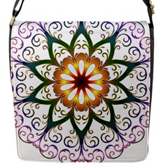Prismatic Flower Floral Star Gold Green Purple Flap Messenger Bag (s) by Alisyart
