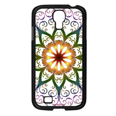 Prismatic Flower Floral Star Gold Green Purple Samsung Galaxy S4 I9500/ I9505 Case (black)