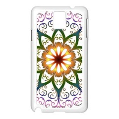 Prismatic Flower Floral Star Gold Green Purple Samsung Galaxy Note 3 N9005 Case (white)