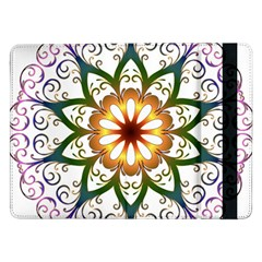 Prismatic Flower Floral Star Gold Green Purple Samsung Galaxy Tab Pro 12 2  Flip Case by Alisyart