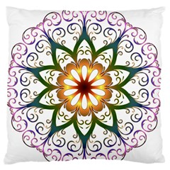 Prismatic Flower Floral Star Gold Green Purple Standard Flano Cushion Case (two Sides) by Alisyart