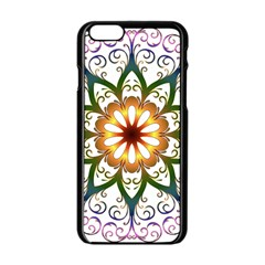 Prismatic Flower Floral Star Gold Green Purple Apple Iphone 6/6s Black Enamel Case by Alisyart