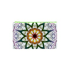 Prismatic Flower Floral Star Gold Green Purple Cosmetic Bag (xs) by Alisyart