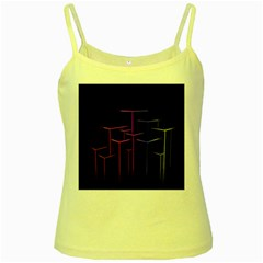 Space Light Lines Shapes Neon Green Purple Pink Yellow Spaghetti Tank by Alisyart
