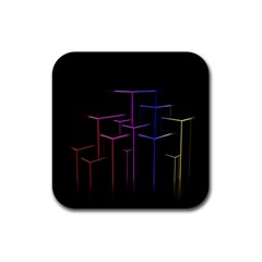 Space Light Lines Shapes Neon Green Purple Pink Rubber Coaster (square)  by Alisyart