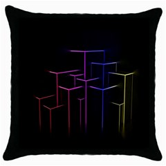 Space Light Lines Shapes Neon Green Purple Pink Throw Pillow Case (black) by Alisyart