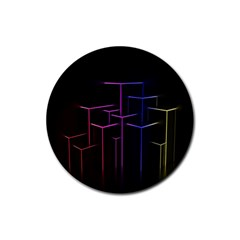 Space Light Lines Shapes Neon Green Purple Pink Rubber Round Coaster (4 Pack)  by Alisyart