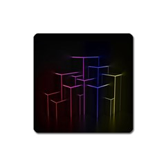 Space Light Lines Shapes Neon Green Purple Pink Square Magnet by Alisyart
