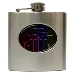 Space Light Lines Shapes Neon Green Purple Pink Hip Flask (6 Oz) by Alisyart