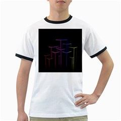 Space Light Lines Shapes Neon Green Purple Pink Ringer T-shirts by Alisyart