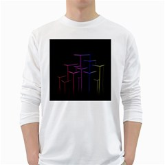 Space Light Lines Shapes Neon Green Purple Pink White Long Sleeve T Shirts by Alisyart