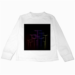 Space Light Lines Shapes Neon Green Purple Pink Kids Long Sleeve T Shirts by Alisyart