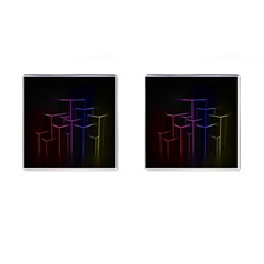 Space Light Lines Shapes Neon Green Purple Pink Cufflinks (square)