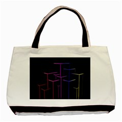 Space Light Lines Shapes Neon Green Purple Pink Basic Tote Bag by Alisyart