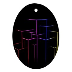 Space Light Lines Shapes Neon Green Purple Pink Oval Ornament (two Sides) by Alisyart