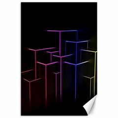 Space Light Lines Shapes Neon Green Purple Pink Canvas 24  X 36  by Alisyart