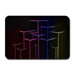 Space Light Lines Shapes Neon Green Purple Pink Plate Mats by Alisyart