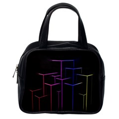 Space Light Lines Shapes Neon Green Purple Pink Classic Handbags (one Side) by Alisyart