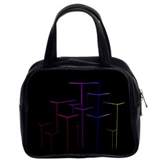 Space Light Lines Shapes Neon Green Purple Pink Classic Handbags (2 Sides) by Alisyart