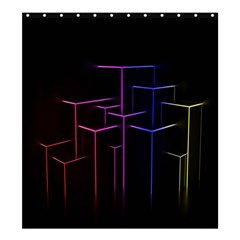 Space Light Lines Shapes Neon Green Purple Pink Shower Curtain 66  X 72  (large)  by Alisyart