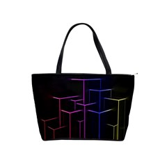Space Light Lines Shapes Neon Green Purple Pink Shoulder Handbags by Alisyart