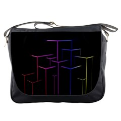 Space Light Lines Shapes Neon Green Purple Pink Messenger Bags by Alisyart