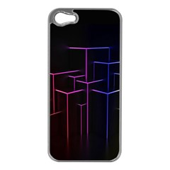 Space Light Lines Shapes Neon Green Purple Pink Apple Iphone 5 Case (silver) by Alisyart