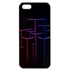 Space Light Lines Shapes Neon Green Purple Pink Apple Iphone 5 Seamless Case (black)