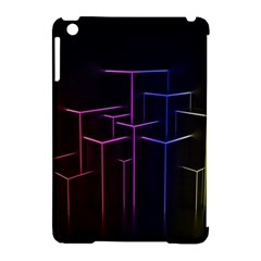 Space Light Lines Shapes Neon Green Purple Pink Apple Ipad Mini Hardshell Case (compatible With Smart Cover) by Alisyart