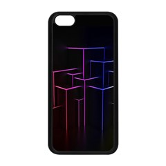 Space Light Lines Shapes Neon Green Purple Pink Apple Iphone 5c Seamless Case (black) by Alisyart