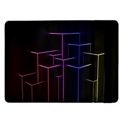 Space Light Lines Shapes Neon Green Purple Pink Samsung Galaxy Tab Pro 12 2  Flip Case by Alisyart