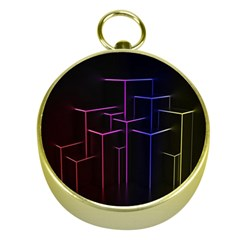 Space Light Lines Shapes Neon Green Purple Pink Gold Compasses by Alisyart