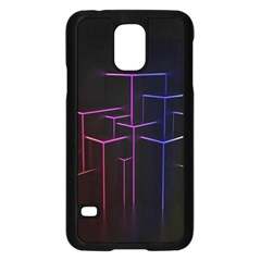 Space Light Lines Shapes Neon Green Purple Pink Samsung Galaxy S5 Case (black) by Alisyart