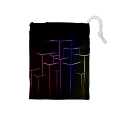 Space Light Lines Shapes Neon Green Purple Pink Drawstring Pouches (medium)  by Alisyart