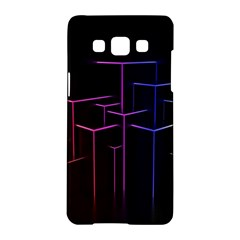 Space Light Lines Shapes Neon Green Purple Pink Samsung Galaxy A5 Hardshell Case  by Alisyart