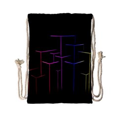 Space Light Lines Shapes Neon Green Purple Pink Drawstring Bag (small) by Alisyart