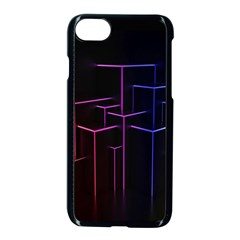Space Light Lines Shapes Neon Green Purple Pink Apple Iphone 7 Seamless Case (black) by Alisyart