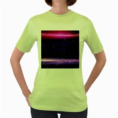 Space Planet Pink Blue Purple Women s Green T Shirt by Alisyart