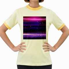 Space Planet Pink Blue Purple Women s Fitted Ringer T Shirts