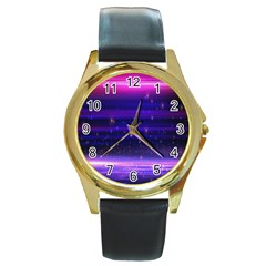 Space Planet Pink Blue Purple Round Gold Metal Watch