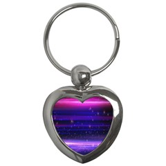 Space Planet Pink Blue Purple Key Chains (heart)  by Alisyart