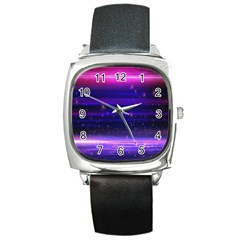 Space Planet Pink Blue Purple Square Metal Watch by Alisyart
