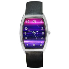 Space Planet Pink Blue Purple Barrel Style Metal Watch by Alisyart